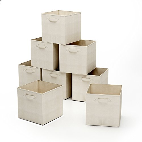 Home-Complete HC-2207 Closet Organizer - Fabric Storage Basket Cubes Bins - 8 Beige Cubicals Containers Drawers, ()