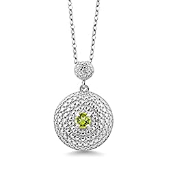 Round Green Peridot Diamond Pendant