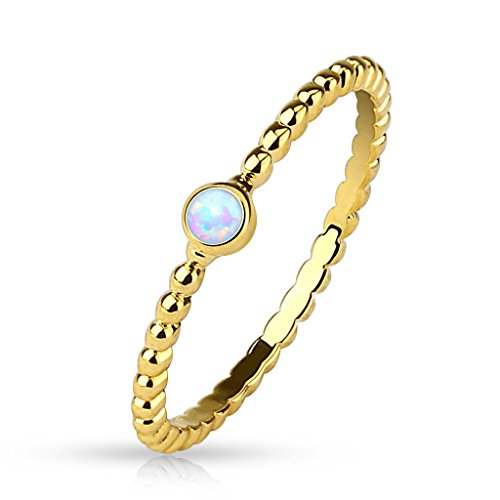 Inspiration Dezigns Gold Stacking Opal Size 8 Ring Women's Jewelry Mid Finger from Spikes