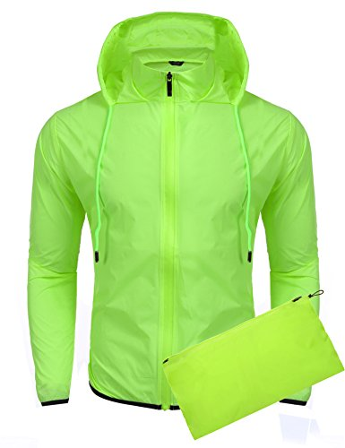 Jinidu Unisex Lightweight Hooded Running Cycling Rain Jacket Outdoor Raincoat