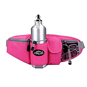 OrrinSports 3-Zipper Nylon Water Resistant Running Waist Bag with Water Bottle Holder (Not Include the Bottle) Pink