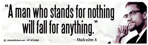 A Man Who Stands for Nothing Will Fall for Anything - Malcolm X Bumper Sticker / Decal (3