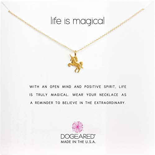 Dogeared Women's Life is Magical Unicorn Reminder Necklace Gold One Size
