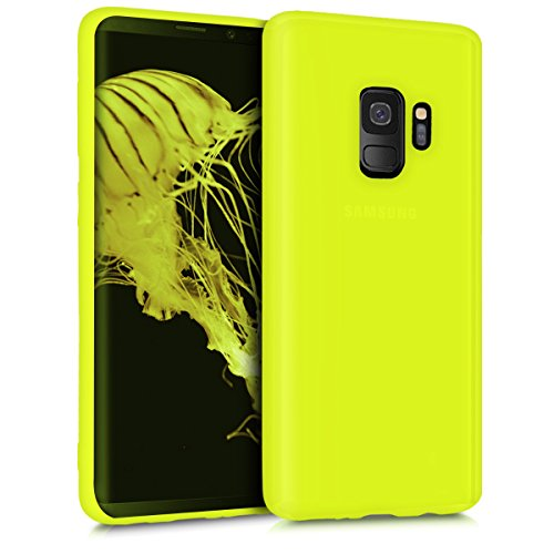 kwmobile TPU Silicone Case for Samsung Galaxy S9 - Soft Flexible Shock Absorbent Protective Phone Cover - Neon Yellow