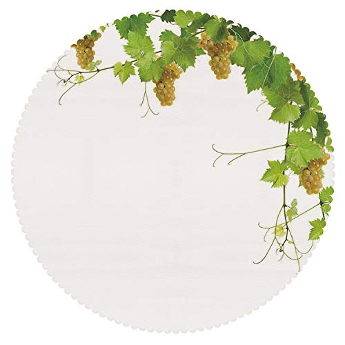 iPrint No Chemical Odor Round Tablecloth [ Grapes Home Decor,Collage of Wine Leaves on Bunch Farming Natural Rural Food Berry Image,Green Yellow ] Fabric Home Tablecloth Ideas ()