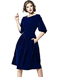 Womens Vintage 1950s 3/4 Sleeves Velvet Belted Tunic Swing A-Line Dress