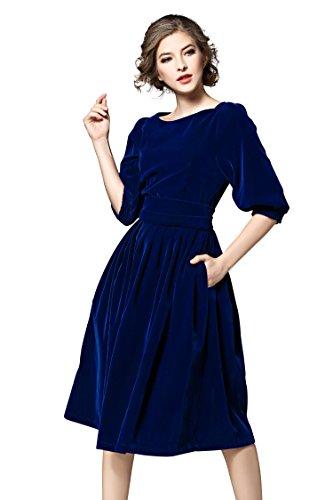 Knee Length Velvet Dress - Women's Vintage 3/4 Sleeves Velvet Belted Tunic Swing A-Line Dress RoyalBlue