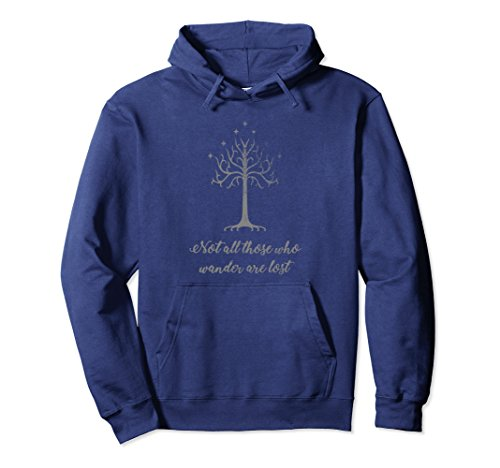 Unisex Not All Those Who Wander are Lost Pullover Hoodie Large Navy