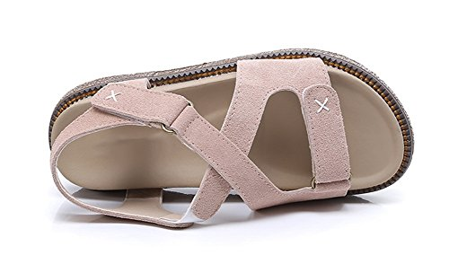 grande Velcro de con y mujer estudiantes verano con cordones 34 pink XIE Sandalias 42 planos suela Zapatos de romanos para Zapatos cuero talla gruesos de q6ayfZHv