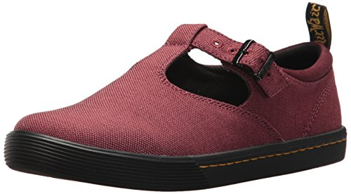 Dr. Martens Women's Winona Mary Jane Flat, Cherry Red Woven Textile+Fine Canvas, 8 Medium UK (10 US)