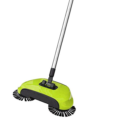 BPG Spin Broom/Sweeper, As Seen on TV. Lightweight Cordless Spinning Broom for Sweeping Hard Surfaces Like Wood, Tiles and Concrete. 3-In-1 Non-Electricity Lazy Push Dust Collector. (Assorted Color)