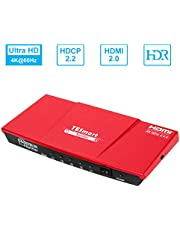 TESmart HDMI Splitter 4K V2.0 Certificate, 1x4 HDMI Splitter 1 Input 4 Outputs, HDMI Splitter 1 to 4 Switch Box Hub Amplifier Powered with Ultra HD HDR 4Kx2K @ 60Hz 4: 4: 4 with EDID Support (Red)