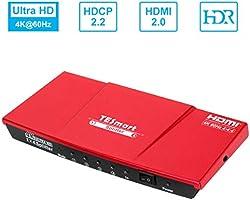 TESmart HDMI Splitter 4K V2.0 Certificate, 1x4 HDMI Splitter 1 Input 4 Outputs, HDMI Splitter 1 to 4 Switch Box Hub...