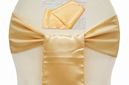 MDS Pack of 100 satin chair sashes bow sash for wedding and Events Supplies Party Decoration chair cover sash -Light Gold