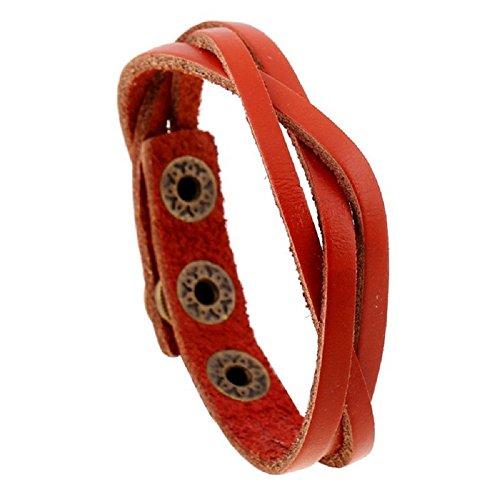 ( Orcbee  _Leather Wrap Braided Wristband Cuff Punk Men Women Bracelet Bangle (E))