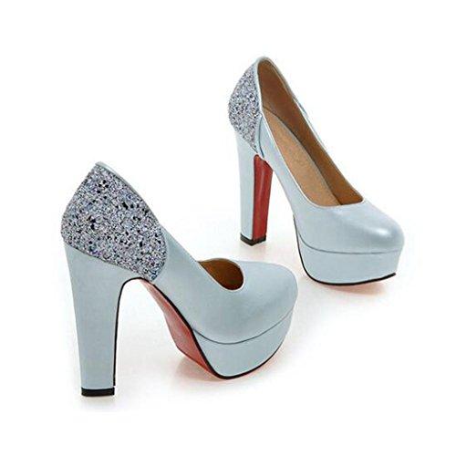 W&LM Sra Tacones altos Boca rasa Hembra Zapatos individuales Colores de caramelo Plataforma a prueba de agua Tacones altos Blue