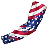 Bucwild Sports USA Flag Compression Arm Sleeve - Youth & Adult Sizes - Perfect for Baseball Basketball Football (1 Sleeve Adult Small)