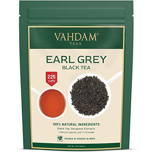 VAHDAM, Imperial Earl Grey Hojas te(200+ Copas) - 100% de aceite de bergamota natural mezclado con te negro fresco de jardin, floral y citrico, 454 g, te fresco de Earl Grey Garden hoja suelta