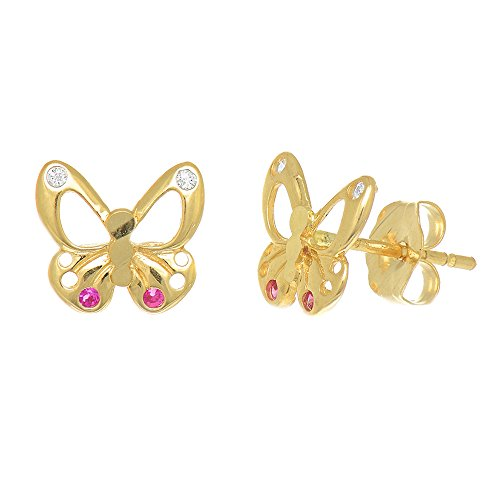 JewelStop 14k Real Yellow Gold Butterfly Post Stud CZ Earrings Kids (Yellow Gold Butterfly Earrings)