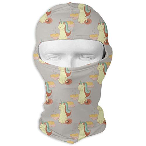Ski Mask Fairytale Unicorn Sitting On The Mat Yellow Balaclava UV Protection Bike Face Mask Windproof Mask Dust Head Hood Full Face Cover for Halloween Cosplay Party Cycling Hiking -