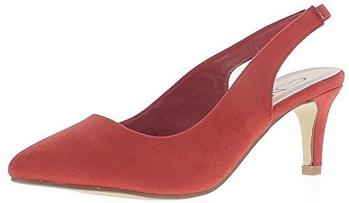Escarpins ouverts pointus rouges à petits talons de 7 cm look daim