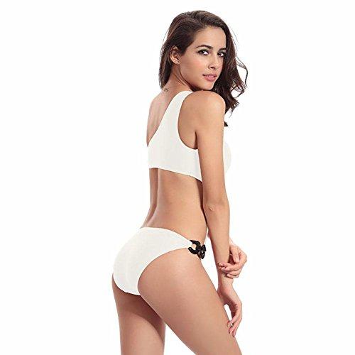 SHISHANG La Sra cintura del traje de baño traje de baño únicos seis anillos ajustables nuevo diseño del traje de baño traje de baño de 4 colores de hombro White