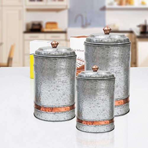 Lidded Canister - Antique Style Galvanized Metal Lidded Rustic Canister with Copper Band, Set of 3 Farmhouse Home Decor