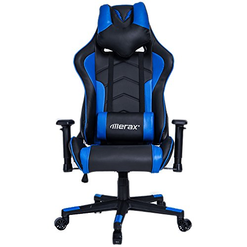 Merax U-Knight Series Racing Style Gaming Chair Ergonomic High Back PU Leather (Blue)