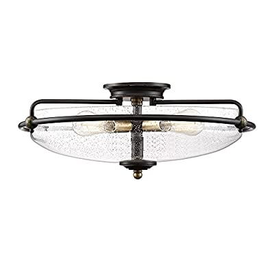 Quoizel Lighting GFC1621PN Griffin - Four Light Flush Mount, Palladian Bronze Finish with Clear Seedy Glass