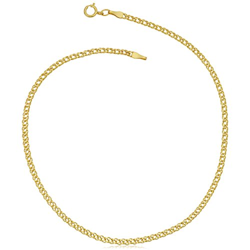 - Kooljewelry 10k Yellow Gold Diamond Weave Curb Anklet (2 mm, 10 inch)