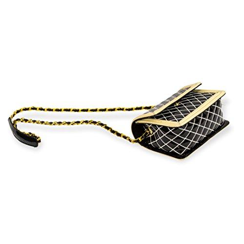 Valentino Orlandi Italienischer Designer Schwarz / Weiß Quilted Leder Mini Geldbörse Crossbody Messenger Bag