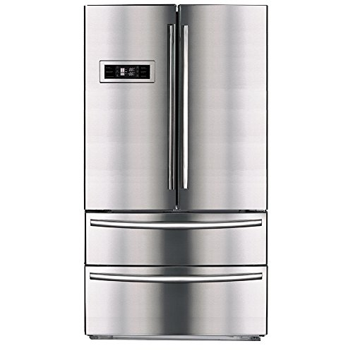 SMETA Upright Counter Depth French Door Refrigerator Bottom Freezer With  Automatic Ice Maker,20.7 Cu