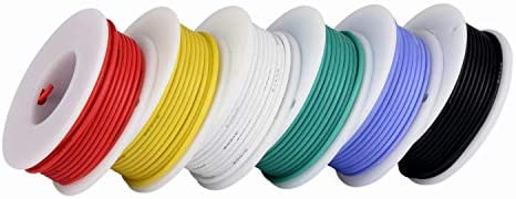 6 different colored 13 Feet spools Electrical Wire 6 Color 18 Gauge Flexible Silicone Wire 18awg Hook Up Wire 600V Stranded Wire automotive wiring TUOFENG
