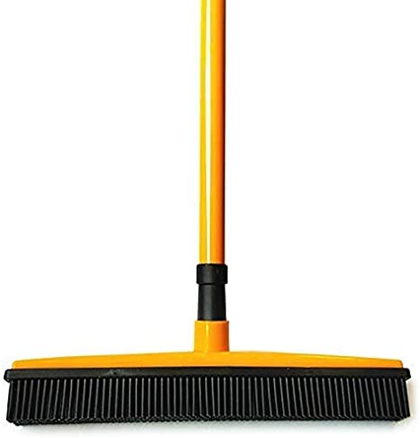 Catalpa Blume Rubber Brush Rubber Bristles Bristle Broom Adjustable from 73 to 127 cm Long Sweeping Brush Handle Rubber Lip for Effortless Removal of Animals Cats Dogs Hair Hardwood Tiles