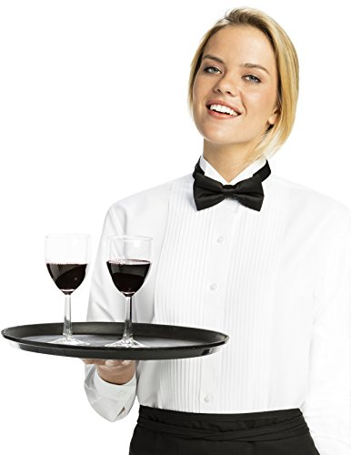 Luxe Microfiber Women's Button-Down 1/4 Inch Pleated Tuxedo Shirt, Regular Fit Wing Collar - Style -