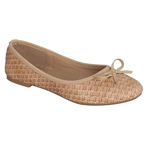 Fashion-shoes Dames Geweven Patroon Strikje Voorkant Ronde Neus Platte Kameel