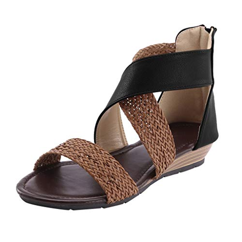 2020 Latest Women RQWEIN Comfy Sandals, Ladies Fashion Flat Heel Slip On Sandals, Casual Vintage Sandals with Zipper