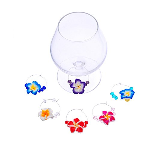 Beaded Plumeria Wine Glass Charms [Island Style/Party Decoration] by Joji Boutique