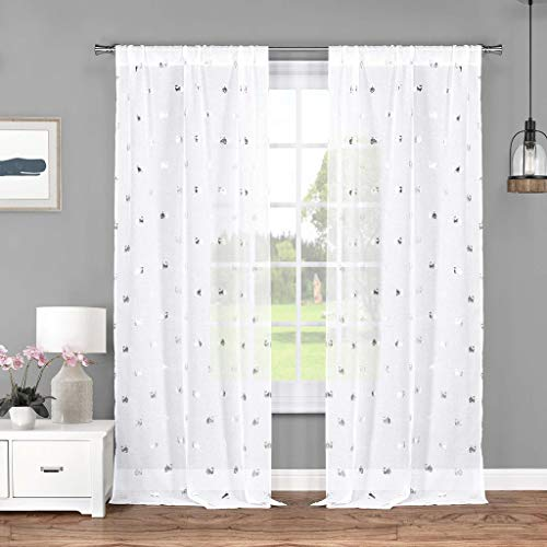Lala + Bash – Wally metálico Rod bolsillo ventana Panel de cortina DRAPES, 37 x 84 inch, color blanco y plata
