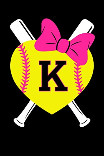 Girls Softball Monogram Journal Letter K Name Sports Notebook: Love Softball Player Pink Bow Monogrammed Blank Lined Book]()
