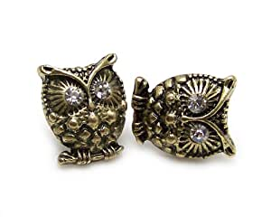 Vintage cute crystal eye bronze owl stud earrings jewelry retro diamante