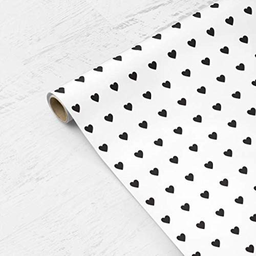Mini Hearts Wrapping Paper - Black Hearts on White Background - Valentines Day, Mothers Day, Red, White, Baby Shower, Birthday, Bridal Shower, Wedding, Modern, Boy, Scrapbooking, Craft Paper