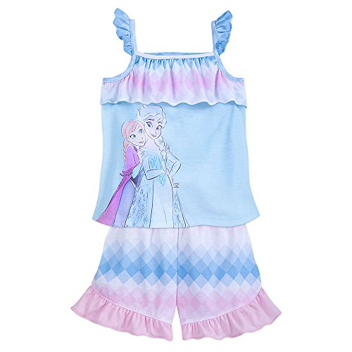 Girls Pyjama Set - Disney Frozen Shorts Sleep Set for Girls Size 5/6