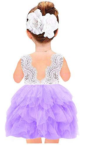 2Bunnies Girl Peony Lace Back A-Line Tiered Tutu Tulle Flower Girl Dress (Purple Sleeveless, 7-8YRS)