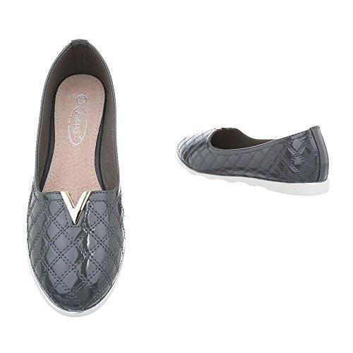 Ital-Design Women's Loafer Flats Flat Slippers at Grey J15c SOXYgmO0UV