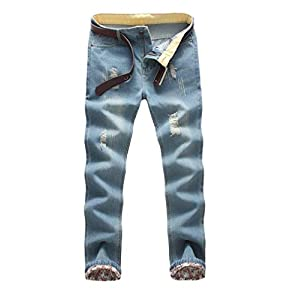 Men's Skinny Straight Washed Distressed Jean Trousers