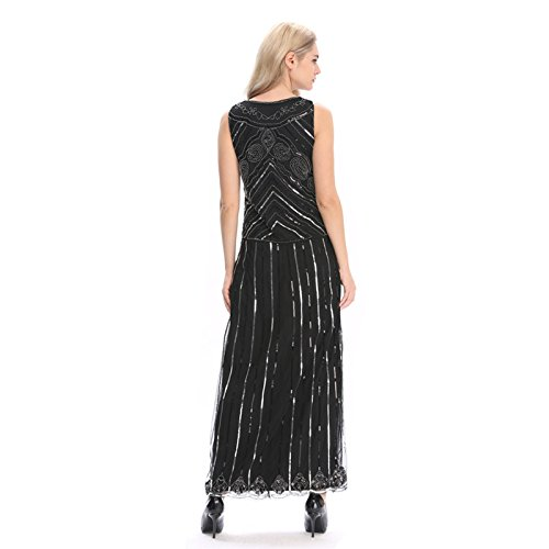 f9bfd53cf5804 Wuchieal Women s 1920s Flapper Dress Gatsby Long Evening Prom Sequin Party  Dress Size 4-20