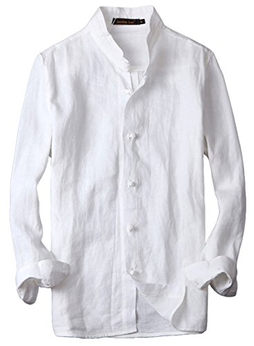 utcoco Man's Vintage Frog Button Down Mandarin Collar Linen Shirts Long Sleeve (Medium, White) (Frog Long Sleeve Shirt)