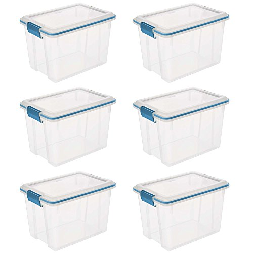 STERILITE 19324306 Gasket Box See-Through Lid and Base with Blue Aquarium Latches and Gasket, 20-Quart, 6-Pack