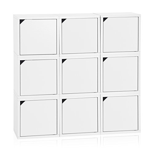 Way Basics Eco Stackable Connect  9-Cube Storage with Doors, White (Tool-Free Assembly and Uniquely Crafted from Sustainable Non Toxic zBoard paperboard)